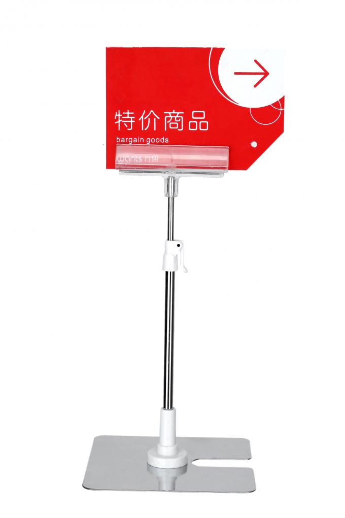 Adjustable POS TableTop Sign Holders With Clear PVC Clips For Advertising